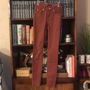 7 for all mankind rust skinny jeans